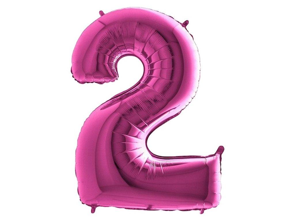 Balónek fóliový narozeniny číslo 2 růžové 82cm