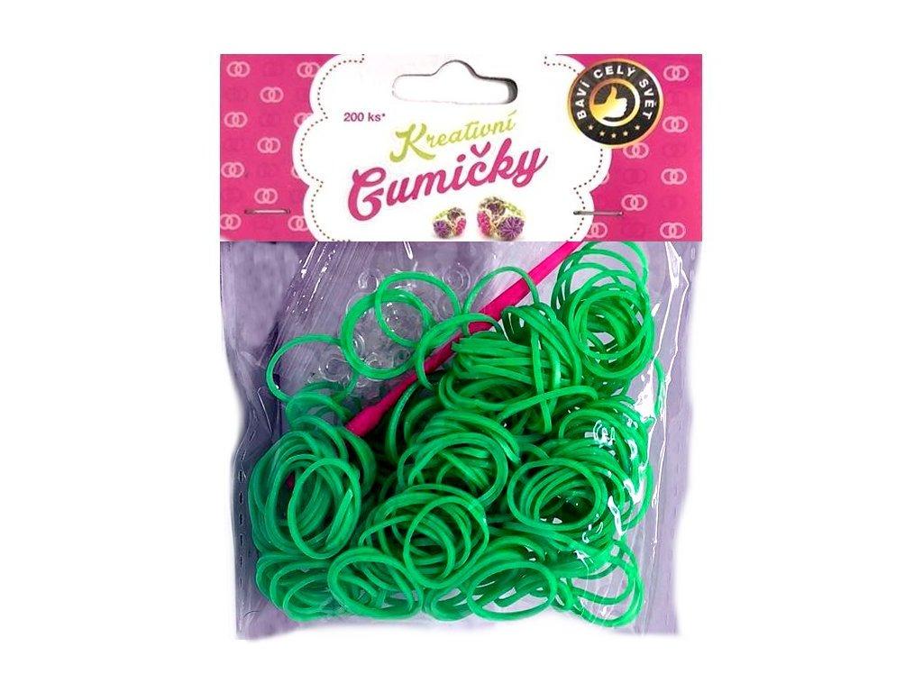 Loom Bands Pletací gumičky zelené 5, 200ks + háček