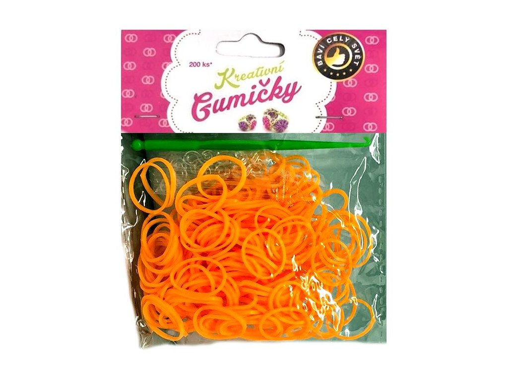 Loom Bands Pletací gumičky oranžové 200ks + háček