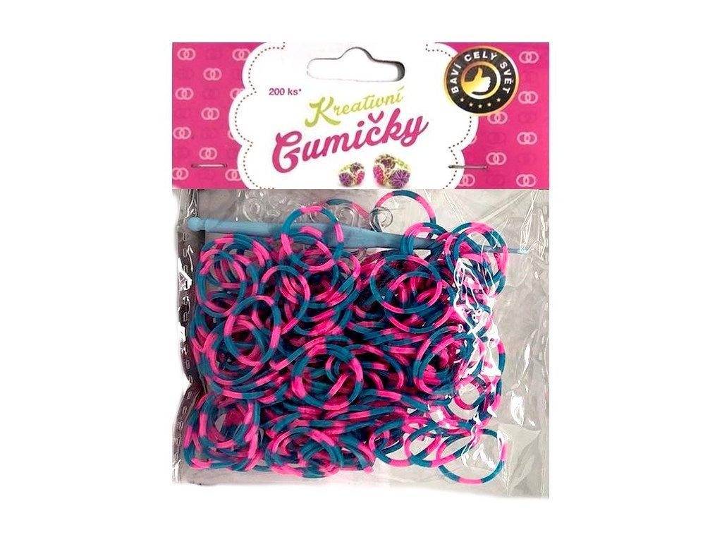 Loom Bands Pletací gumičky pruhované modro-růžové 200ks + háček