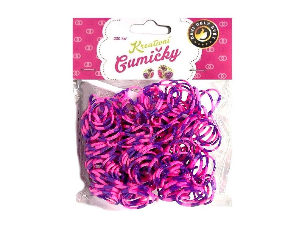 Loom Bands Pletací gumičky pruhované fialovo-růžové 200ks + háček