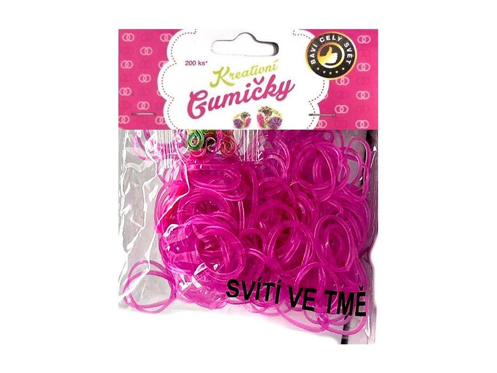 Loom Bands Pletací gumičky svítící ve tmě růžové 200ks + háček