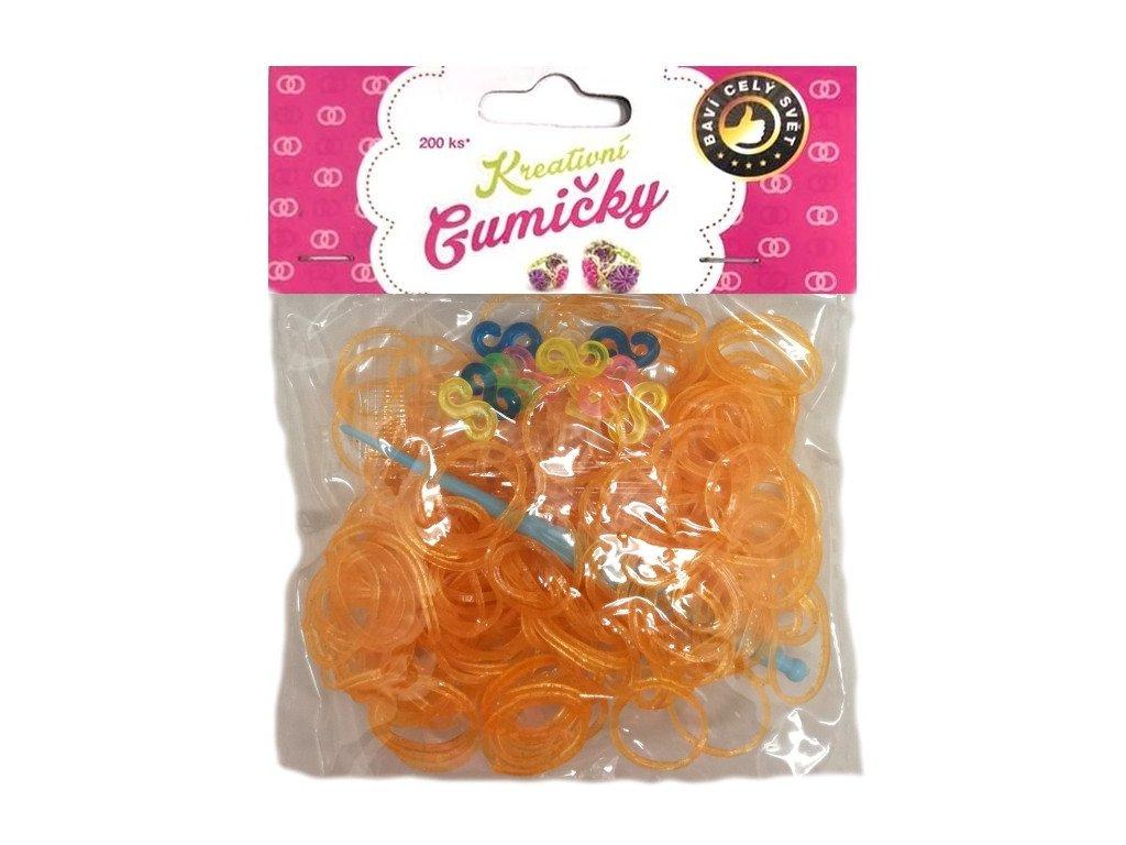 Loom Bands Pletací gumičky oranžové se třpytkami 200ks + háček