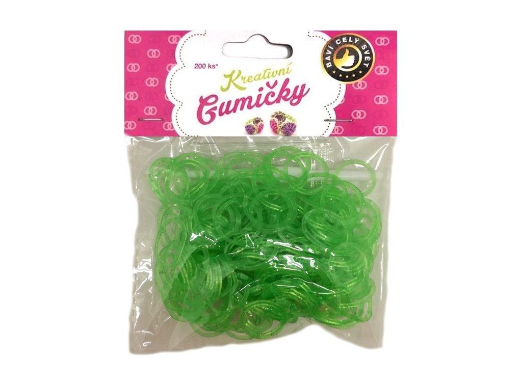Loom Bands Pletací gumičky zelené 1 se třpytkami 200ks + háček