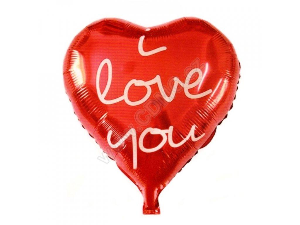 Nafukovací balónek I love you červený fóliový 45 cm