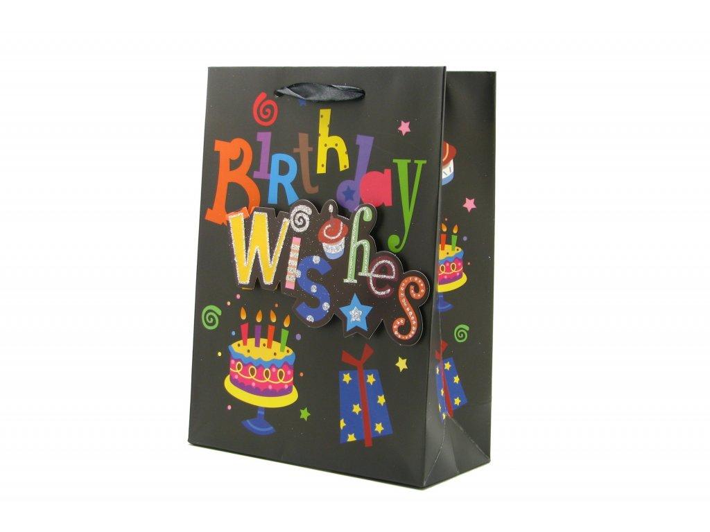 42585 darkova taska happy birthday mala 3d s glitry cerna 0095