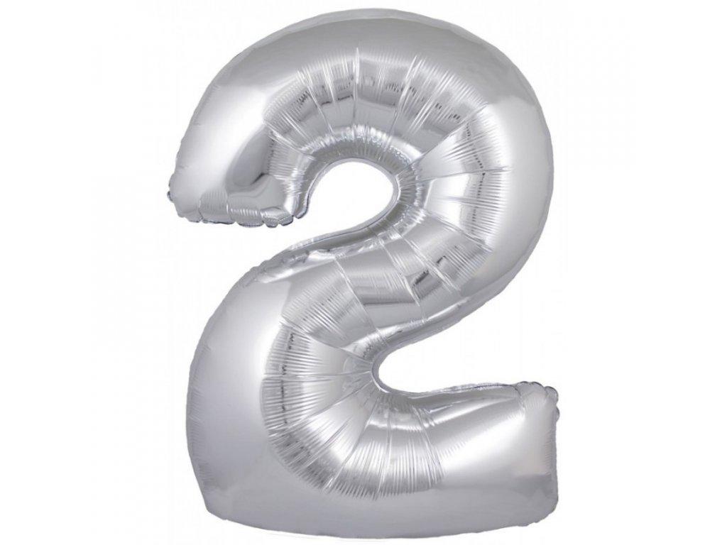 23916 foliovy balonek stribrny cislo 2 82 cm 4514