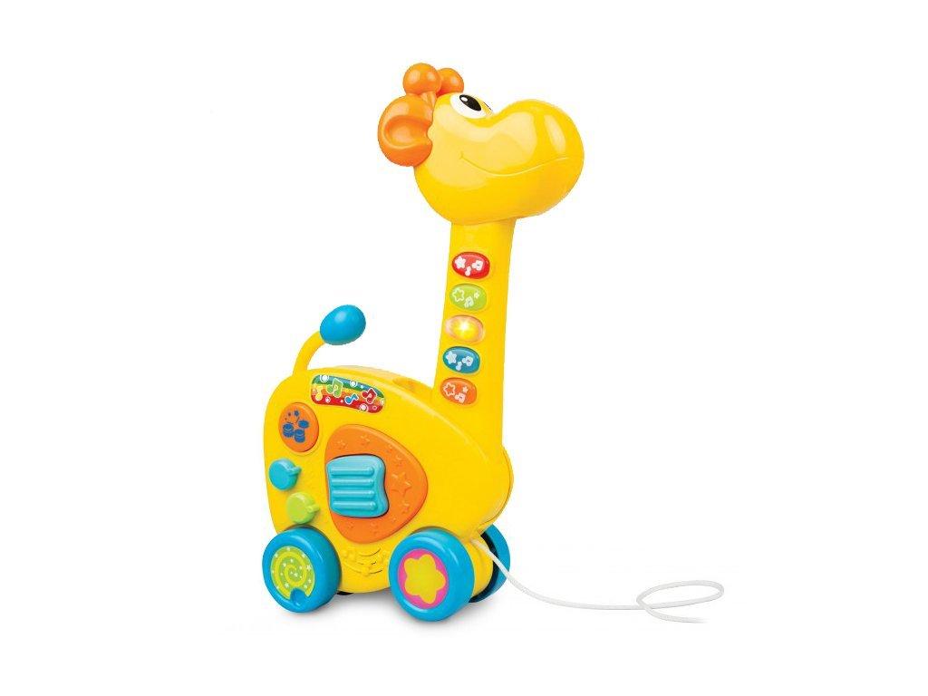 Žirafa tahací kytara 2v1 na baterie se světlem a zvukem 34 cm