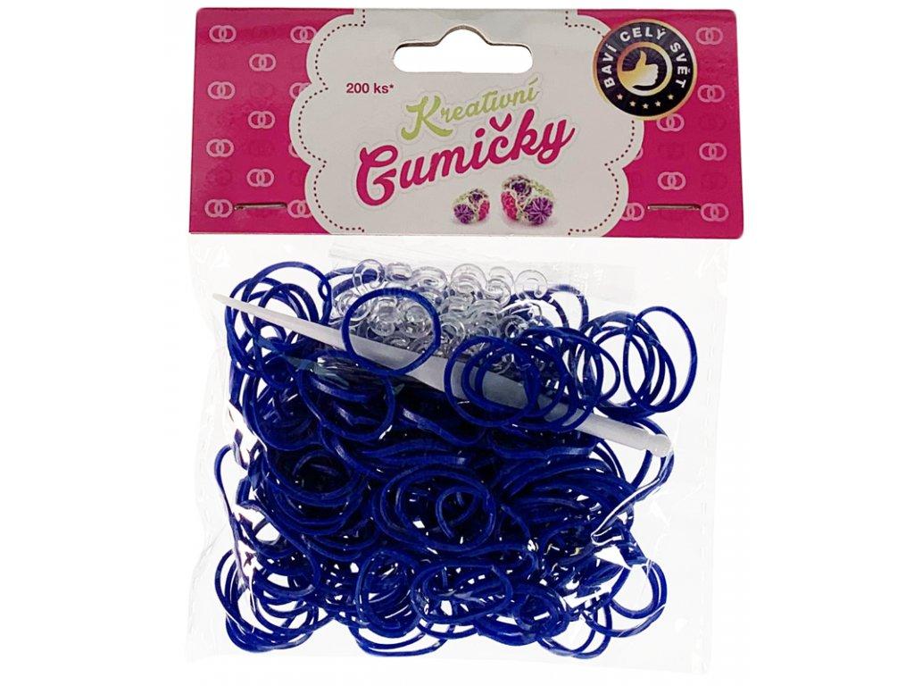 41746 4 55 loom bands pletaci gumicky tmave modre 200ks hacek