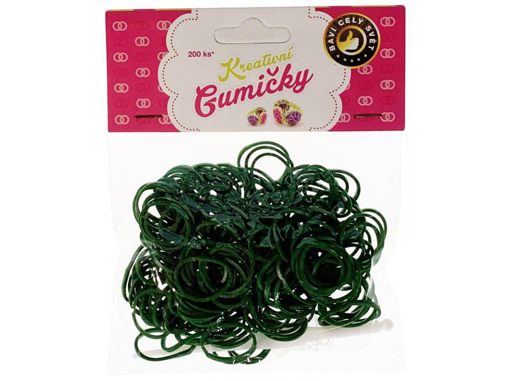 41767 4 67 loom bands pletaci gumicky tmave zelene 200ks hacek