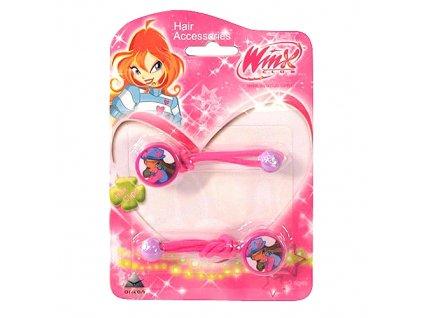 Winx Club gumička do vlasů 2ks O Flora tmavě růžová (0727)