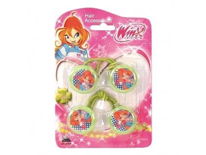 Winx Club gumička do vlasů 2ks kolečka Bloom zelená (0864)