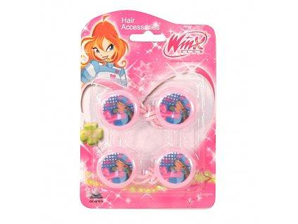 Winx Club gumička do vlasů 2ks kolečka Flora světle růžová (0864)
