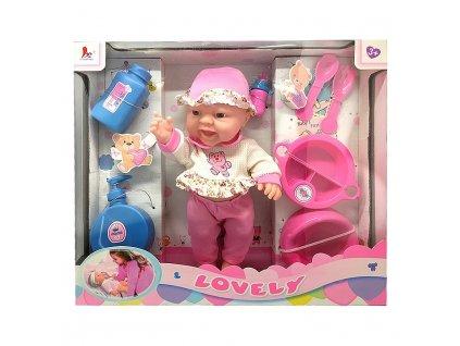 Lovely Miminko v dárkové krabičce s příslušenstvím 28cm růžová