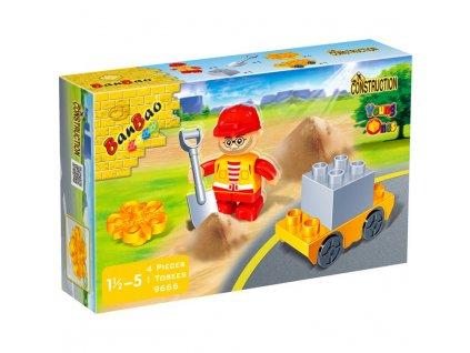 BanBao Construction figurka dělník s doplňky