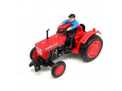 Mikro Traktor s farmářem červený