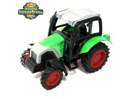 Farmer Metal Natahovací traktor s kovovou karoserií 9cm zelený