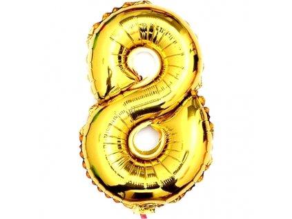 Balónek fóliový narozeniny číslo 8 zlatý 82cm