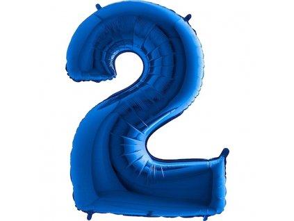 Balónek fóliový narozeniny číslo 2 modrý 82cm