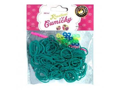 Loom Bands Pletací gumičky zelené 2, 200ks + háček