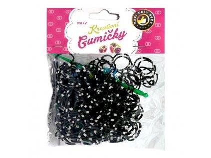 Loom Bands Pletací gumičky pruhované černo-bílé 200ks + háček