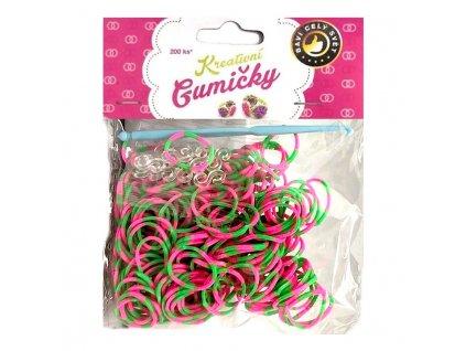 Loom Bands Pletací gumičky pruhované zeleno-růžové 200ks + háček