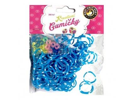 Loom Bands Pletací gumičky pruhované modro-bílé 200ks + háček