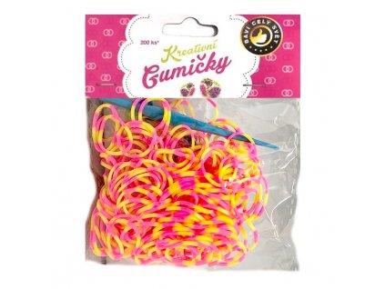 Loom Bands Pletací gumičky pruhované růžovo-žluté 200ks + háček