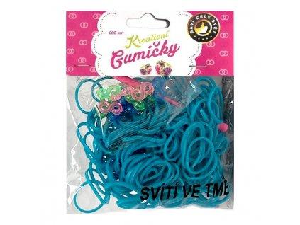 Loom Bands Pletací gumičky svítící ve tmě modré 200ks + háček