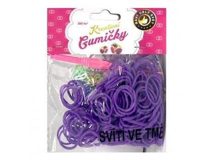 Loom Bands Pletací gumičky svítící ve tmě fialové 200ks + háček