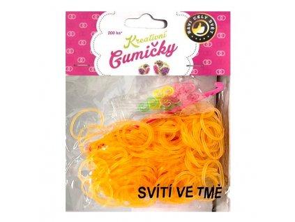 Loom Bands Pletací gumičky svítící ve tmě oranžové 200ks + háček