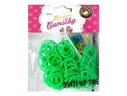 Loom Bands Pletací gumičky svítící ve tmě sv. zelené 200ks + háček