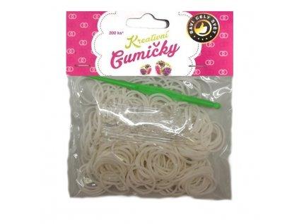 Loom Bands Pletací gumičky bílé 200ks + háček