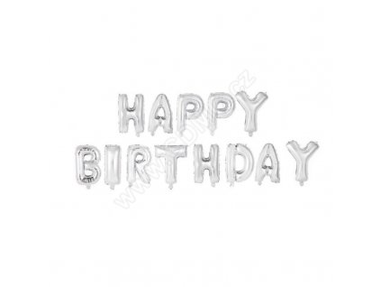 Nafukovací balonky Happy birthday 35 cm fóliový stříbrný