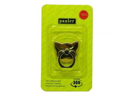 Držák na prst se stojánkem na mobil Kočka zlatý