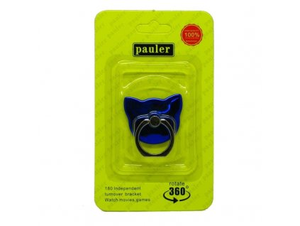 Držák na prst se stojánkem na mobil Kočka modrý