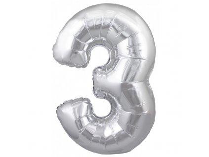23919 foliovy balonek stribrny cislo 3 82 cm 4514