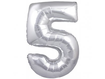 23925 foliovy balonek stribrny cislo 5 82 cm 4514
