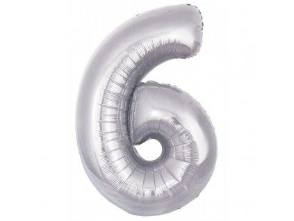 23928 foliovy balonek stribrny cislo 6 82 cm 4514