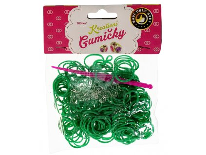 41764 4 65 loom bands pletaci gumicky tmave zelene 200ks hacek