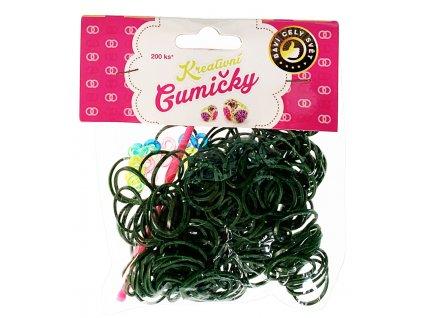 41770 4 68 loom bands pletaci gumicky tmave zelene 200ks hacek