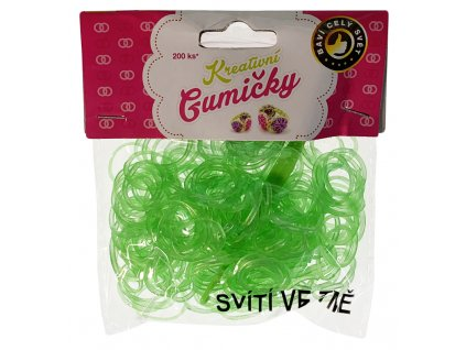 41785 82 loom bands pletaci gumicky svitici ve tme svetle zelene 200ks hacek
