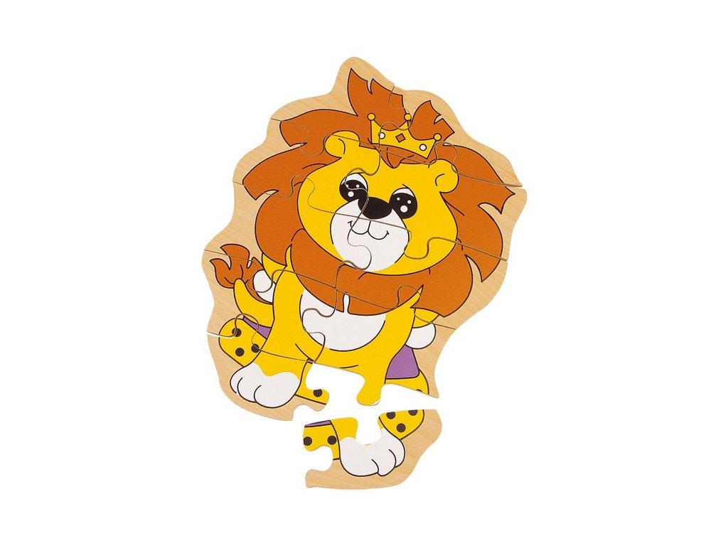 Dřevěné puzzle lev