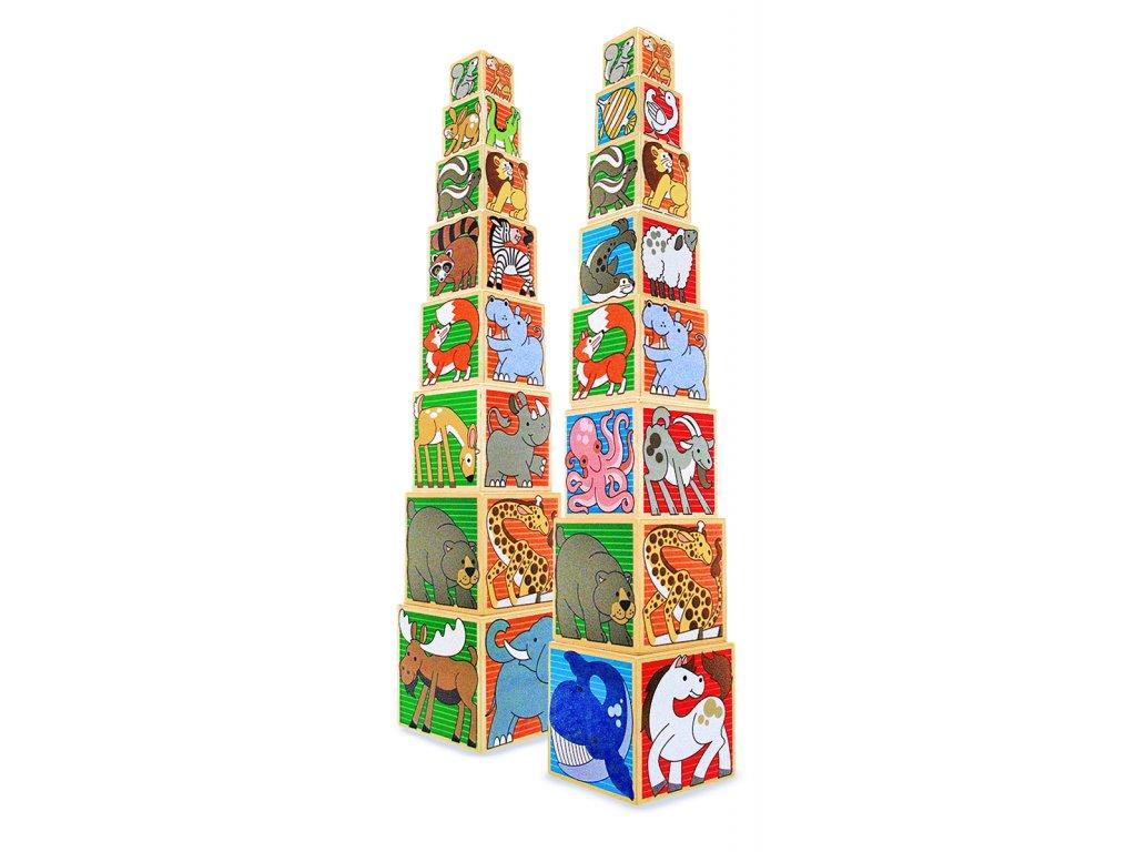 Stohovací dřevěné kostky - Zvířata