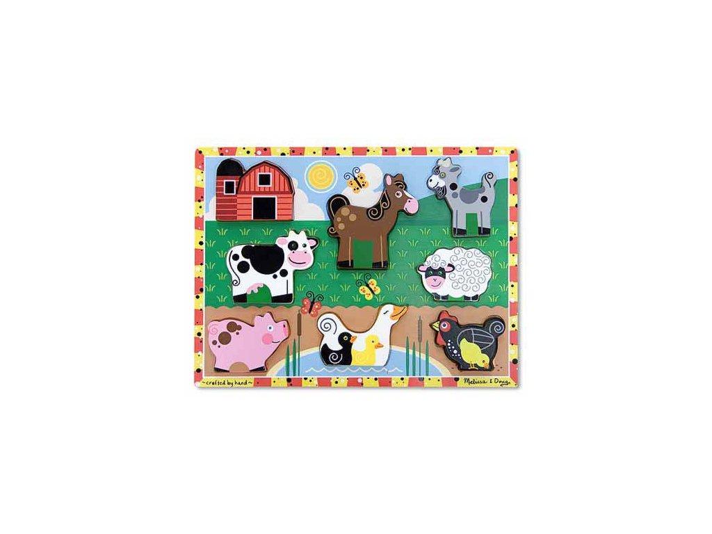 Dřevěné puzzle masivní Farma