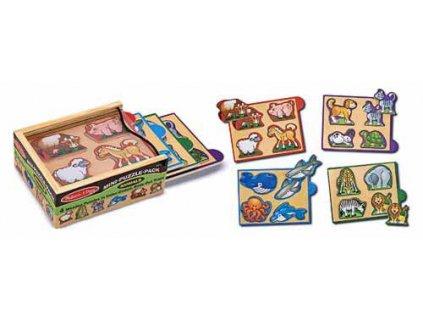 Mini puzzle v krabičce Zvířata