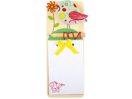 Dřevěný zápisník Modrý ptáček