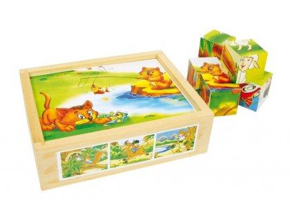Dřevěné obrázkové kostky - Zvířecí zábava