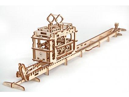 Ugears 3D mechanické puzzle Tramvaj s kolejemi 154 ks