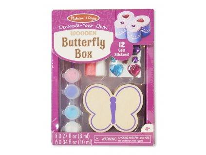 Dřevěná dekorační krabička Motýl